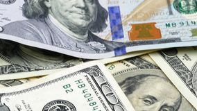 Honderd bankbiljetten van de V.S. cash honderd dollars, dollar 100 stock footage