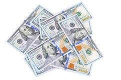 Honderd die dollars op witte achtergrond worden geïsoleerd Stock Foto