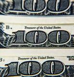 Honderd dollar rekeningenachtergrond Royalty-vrije Stock Afbeeldingen