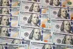 Honderd dollars Amerikaanse bankbiljetten Stock Foto's