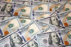 Honderd dollars Amerikaanse bankbiljetten Stock Foto