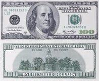 Honderd dollarsbankbiljet Royalty-vrije Stock Foto's