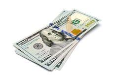 Honderd dollarsbankbiljetten Royalty-vrije Stock Foto's