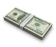Honderd dollarsbankbiljetten met band Royalty-vrije Stock Afbeeldingen