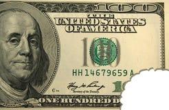 Honderd dollarsrekening met beetteken Stock Afbeelding