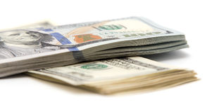 Honderd dollarsrekening op een witte achtergrond Royalty-vrije Stock Afbeeldingen