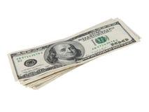 Honderd dollarsrekeningen met overzicht royalty-vrije stock afbeelding
