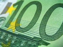 Honderd eur bankbiljetten, detail stock fotografie