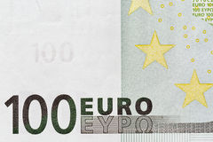 Honderd Euro bankbiljetclose-up Royalty-vrije Stock Afbeelding