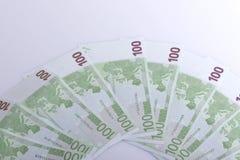 Honderd Euro bankbiljetten Stock Foto