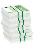 Honderd euro bankbiljettenstapels Stock Foto's