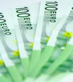 Honderd Euro Rekeningen Royalty-vrije Stock Foto's