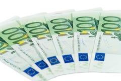 Honderd euro rekeningen Stock Foto's