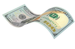 Honderd geïsoleerde dollars Stock Afbeeldingen