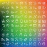 Honderd geplaatste pictogrammen Stock Afbeelding