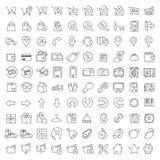 Honderd geplaatste pictogrammen Royalty-vrije Stock Foto's