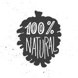 Honderd het persent natuurlijke van letters voorzien in kegel Stock Fotografie