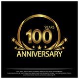 Honderd jaar verjaardags gouden het ontwerp van het verjaardagsmalplaatje voor Web, spel, Creatieve affiche, boekje, pamflet, vli royalty-vrije illustratie
