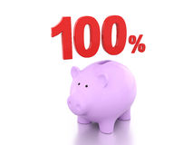 Honderd Percenten met Piggy Stock Afbeelding