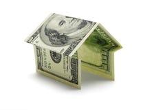 Honderd V.S.- dollar nota in vorm van huis Stock Afbeelding