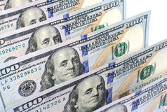 Honderd van de bankbiljetten op een rij Amerikaanse dollars close-up Stock Fotografie