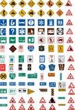 Honderd verkeersteken Royalty-vrije Stock Foto's