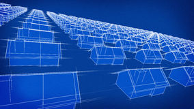 Honderden van de blauwdruk Huizen Stock Afbeelding