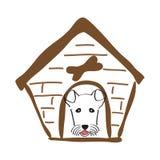 Hondhuis en hond daarin Het gezicht van Hand-drawn vrouwen illustration Stock Foto