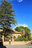 Hondon de Las Nieves, Alicante, Spain- October 31, 2018-Streets and colorful facades of the town of Hondon de Las Nieves in stock photography