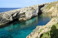 Hondoq ir-Rummien in Gozo - Malta. Secluded beach in Hondoq ir-Rummien, Gozo - Malta Royalty Free Stock Images