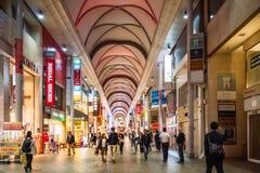 Hondori Shotengai Shopping Arcade, Hiroshima, Japan. November 6, 2018: People shop in a covered City Street in downtown Hiroshima, Chugoku District, Japan stock photography