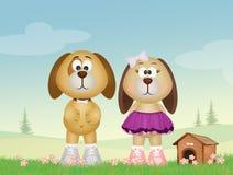 Hondpaar en kennel stock illustratie