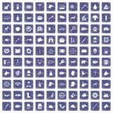 100 hondpictogrammen geplaatst grunge saffier Royalty-vrije Stock Afbeeldingen