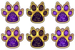 Hondpoot 2018 van Nieuwjaar Reeks stickers Royalty-vrije Stock Fotografie