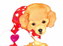 Hondpuppy met Angel Wings Watercolor Stock Afbeelding