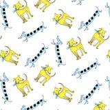 Honds naadloze patroon vrolijke multicolored waterverf vector illustratie