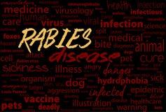 Hondsdolheid - virale ongeneeslijke ziekte van mensen en dieren De tekstblok van het gezondheidszorgwoord Stock Foto's