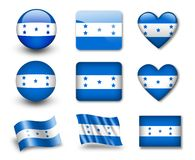 The Honduran flag. Set of icons and flags. glossy and matte on a white background Royalty Free Stock Photo