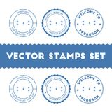 Honduran flag rubber stamps set. National flags grunge stamps. Country round badges collection Stock Photography
