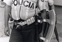 Honduran policeman in riot gear Stock Photo