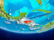 Honduras auf Kugel vom Raum Stockfoto