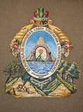 Honduras Coat of Arms. Embroidery of Honduras Coat of Arms on Fabric Stock Images
