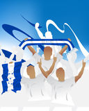 Honduras crowd. Crowd of soccer people fan and three soccer players with scarf and flag Royalty Free Stock Image