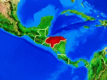 Honduras on Earth with borders. Honduras from space on model of planet Earth with country borders and very detailed planet surface. 3D illustration. Elements of royalty free stock photography