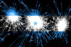 Honduras fireworks sparkling flag. New Year, Christmas and National day concept.  vector illustration