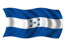Honduras - flag of. Flag of the Republic of Honduras billowing in the wind Royalty Free Stock Photos