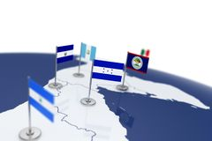 Honduras flag. Country flag with chrome flagpole on the world map with neighbors countries borders. 3d illustration rendering flag Stock Illustration