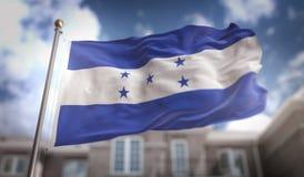 Honduras Flag 3D Rendering on Blue Sky Building Background. Digital Art stock image