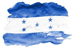 Honduras flag is depicted in liquid watercolor style isolated on white background. Careless paint shading with image of national flag. Independence Day banner stock photography