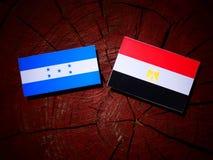 Honduras flag with Egyptian flag on a tree stump stock images